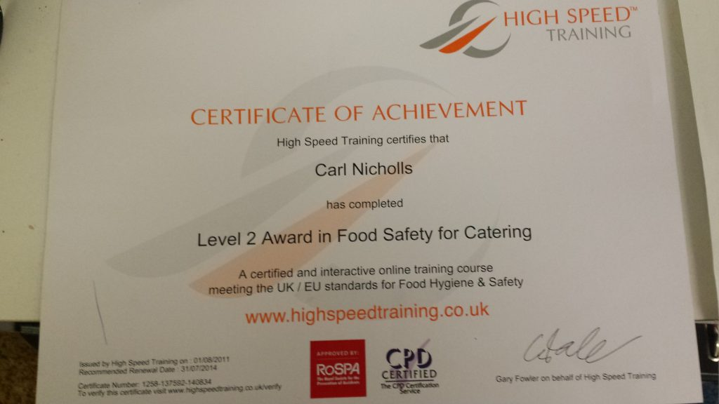 Certificate for Handling Food Catering Manchester
